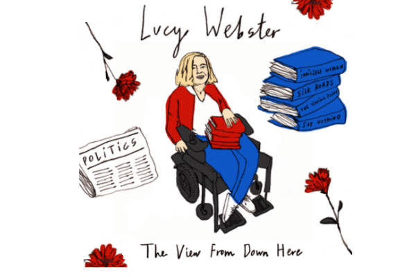 Cartoon-style image of Lucy in a wheelchair surrounded by books and newspapers and red flowers
